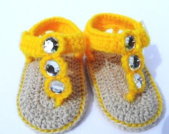 Crochet Baby Girl Flip Flops with Gems, Crochet Baby Sandals in Yellow