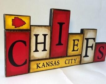 Kansas City Chiefs Word Blocks - KC Wooden Block Set