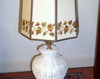 Vintage Wicker Lamp with Linen Embroidered Shade