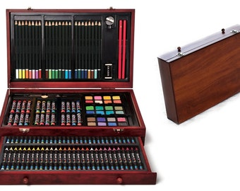 Deluxe Wood Case With Drawer And 142 Piece Art Supplies, For Creative Beginning Artists, Art Gift Set For Young Artists Or Art Beginners