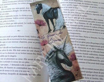 Bookmark black, silver and pink Unicorn
