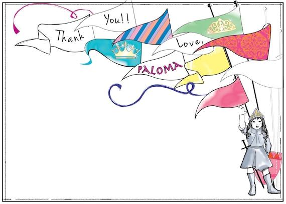 Custom Digital Princess Knight Thank you card