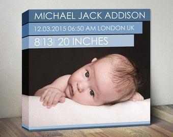 Newborn Baby Announcement Canvas, Baby Birth Stats Nursery Wall Art, New Baby Wall Decor, Birth Stats, Baby Girl or Boy Art Canvas Art Print