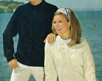family aran long sleeve style jumper  vintage knitting pattern PDF instant download