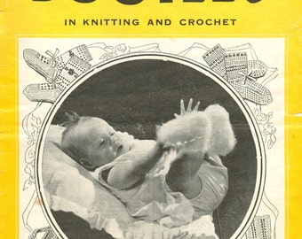 Baby bootees vintage knitting pattern PDF instant download - Weldons 15