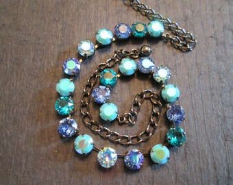 Bridesmaid Necklace/Blue and Turquoise Swarovski Necklace/ Statement Necklace/ Crystal Necklace/ Crystal Tennis Necklace/Wedding Necklace