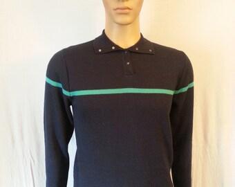 Vintage men's Snowflake Ski Sweater By Mervyns navy blue color size Medium