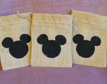 Burlap Mickey Mouse bags.  5 x 7 burlap Mickey party favor bags. Disney Party favors.  Disney wedding favor.  Mickey bag.  Mickey Mouse