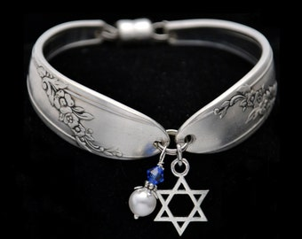 Spoon Bracelet Star of David Charm Vintage Silverware Bridesmaid Religious Jewelry Birthstone Bracelet Gifts For Her