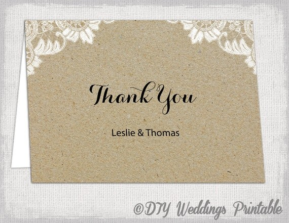 "Thank you cards template Rustic wedding template ""Antique Lace kraft ..."