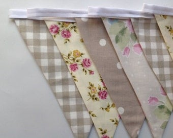 Vintage floral shabby chic beige double sided fabric bunting. 3 metres long (9 flags)