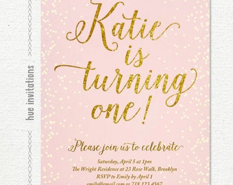 Pink Gold Glitter Th Birthday Invitation For Girl Modern - 1st birthday invitations gold and pink