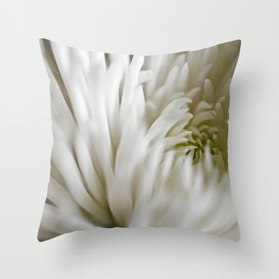 Neutral Pillow Cover, White Spider Mum, Macro Photography, Home Decor, Indoor Pillow, Outdoor Cushions, Pretty Nursery, Living Room