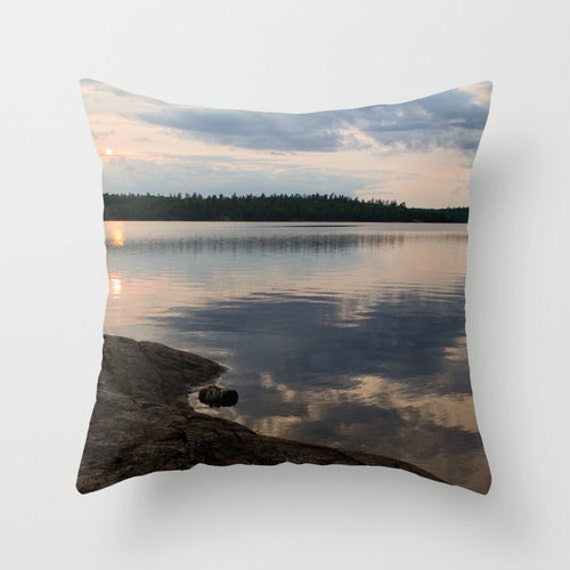 Boundary Waters, Pillow Cover, BWCA Photography, Landscape Image, Home Decor, Lake Images, Water Photo, Man Cave, Cabin Decorations, Rustic