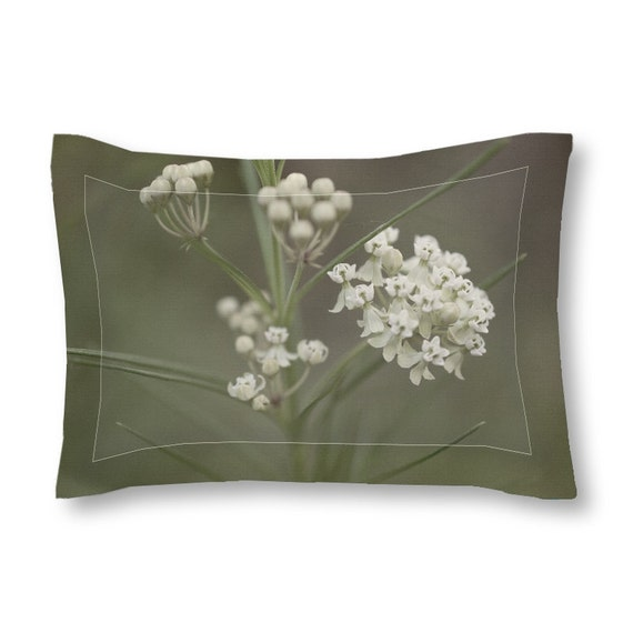 Pillow Sham, Grey Green White, Rustic Decor, Flower Bedding, Macro Photography, Decorative Covers, Bed Pillows, Cottage Chic, Iowa Photo