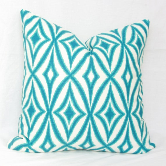 Items similar to Turquoise & white decorative pillow cover. 18