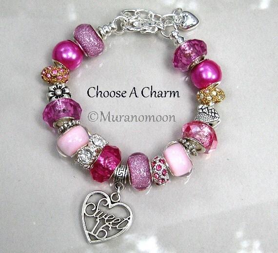 Sweet 16 Charm Bracelet: Items Similar To Sweet 16 Charm Bracelet Pink Princess