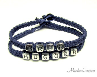 Tree Hugger Bracelets with Silver Tone Letters, Navy Blue Hemp Jewelry for Nature Lovers
