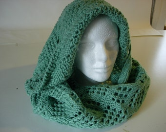 soft green hand knitted infinity scarf/cowl