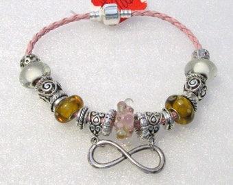 906 - Pink & Gold Infinity Bracelet