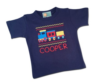 Boy's Train Shirt Faux Smocked with Embroidered Name
