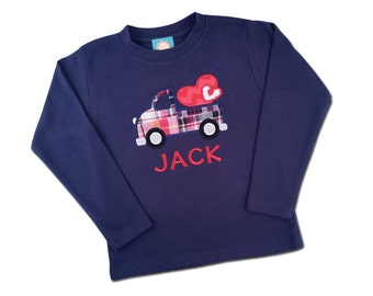 Boy's Valentine Shirt with Truck and Hearts and Embroidered Name - M33