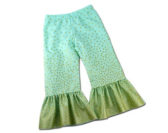 Girls Mint and Gold Ombre Ruffle Pants
