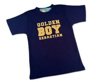 Golden Boy Birthday Shirt with Number on Back and Embroidered Name
