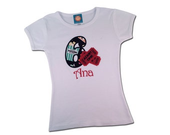 Girl's Movie Birthday Shirt with Movie Tickets, Popcorn and Candy Filled Number