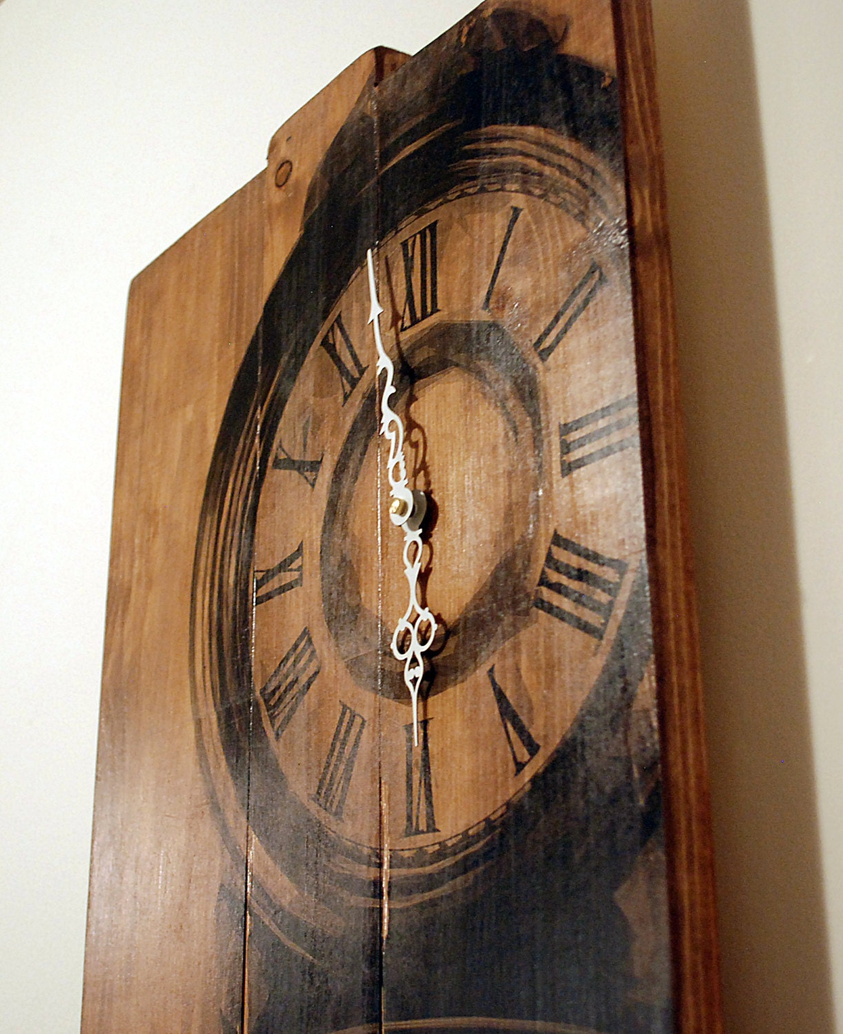 Large Wall Clock Grandfather Clock Art On Solid Wood Planks