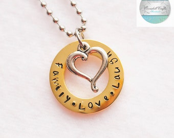 Family Names Gold and Silver Hand Stamped  Pendant with Silver Love Heart Charm and Necklace names necklace