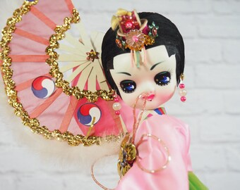 Vintage Korean Fan Dancer Pose Doll / Big Eyed Boudoir Doll / Bradley Doll