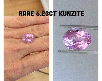 GENUINE Rare Kunzite Loose Gem 6.23ct Oval Purple Pink AAAAA+ Quality Loose Gem For Your Custom Engagement Wedding Ring