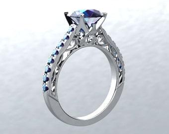 Engagement Ring 14k White Gold 6.5mm Round Lab Grown Alexandrite Center & Sides Engagement Ring Wedding Anniversary Victorian Love
