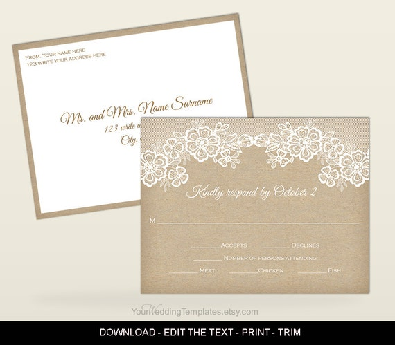 Rustic RSVP postcard template printable Wedding RSVP