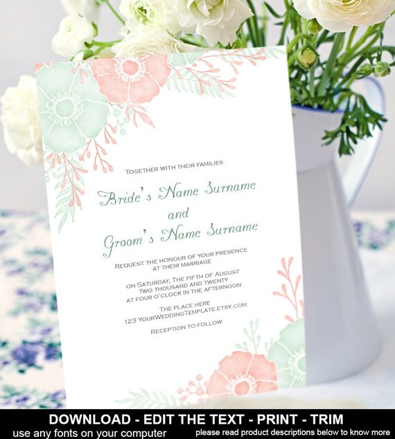 Coral And Mint Wedding Invitations: Mint And Coral Wedding Invitation By YourWeddingTemplates
