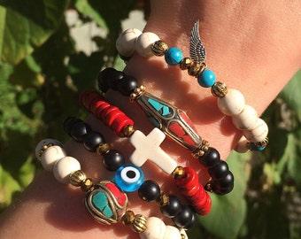 Cross-Evil Eye-Angel Wing Beaded Bracelets