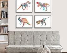 Dinosaur Art Print - Kids Wall Decor - Children Art - Set of 4 prints - 255/260/261/262