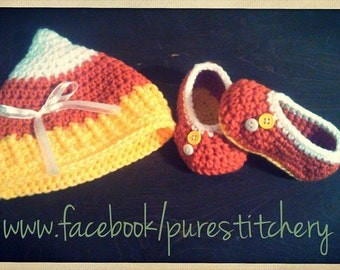 Crochet Handmade Baby Candy Corn Set