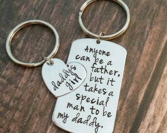 Personalized Hand Stamped daddy daughter keychain, anyone can be a father but it takes a special person  to be a daddy