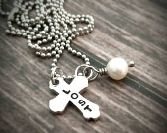 Hand stamped cross necklace with freshwater pearl, custom cross necklace,  cross jewelry