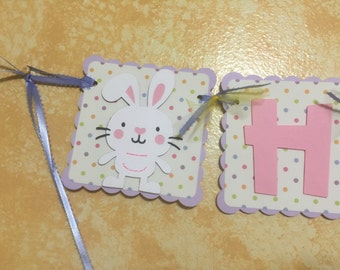 """Lavender, Pink, and Polkadot """"Happy Easter"""" Easter Bunny Banner"""