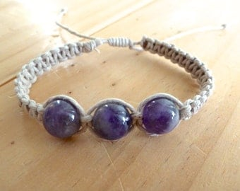Amethyst Hemp Bracelet. Natural Stones. Boho Jewelry. Hippie Bracelet.