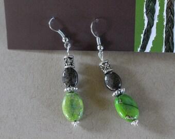 Lime green beaded earrings