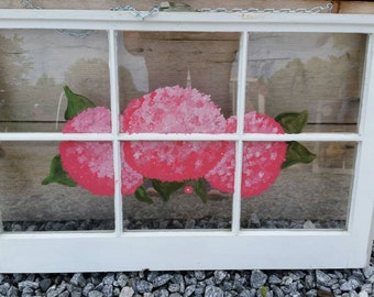 Painted Hydrangea Window