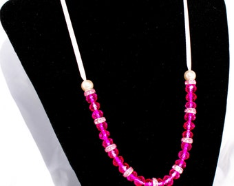 Free Shipping Unique PINK Ribbon Necklace with pearls, crystal beads and rhinestones adjustable size