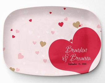 Personalized Heart Platter, Melamine Serving Platter, Personalized Valentines Serving Tray, Personalized Heart Tray