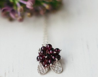 Catkin Butterfly Pendant with Garnet