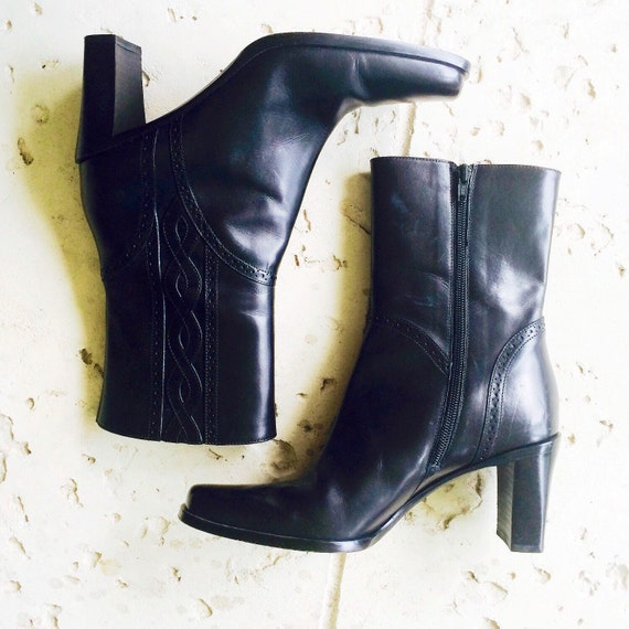 black leather via spiga boots 7 5m by shopkingdude on etsy