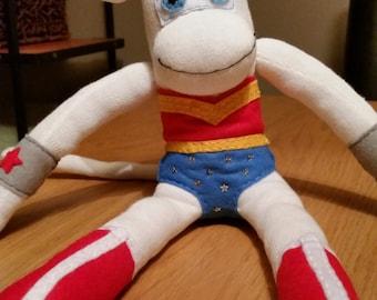 Handmade Wonder Woman Sock Monkey